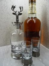 Pewter Stag Mini  Decanter and Glass Set